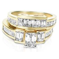 2.70CT Diamond Bridal Set with Emerald and Princess Cut Diamonds