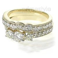 1.90CT Round Cut Diamond Bridal Set