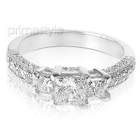 1.85CT Princess and Round Cut Diamonds Three Stone Ring