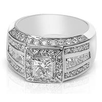 3.35CT Princess and Round Cut Diamonds Engagement Ring