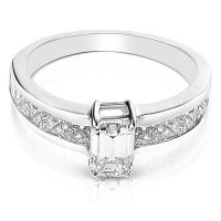 2.30CT Emerald and Princess Cut Diamonds Engagement Ring