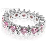 4.00CT Round Cut Diamonds and Pink Sapphires Eternity Band