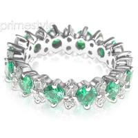 4.00CT Round Cut Diamonds and Emeralds Eternity Band