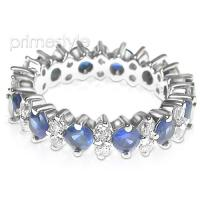 4.00CT Round Cut Diamonds and Sapphires Eternity Band