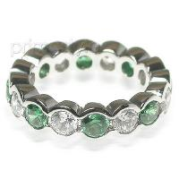 4.10CT Round Cut Diamonds and Emeralds Eternity Band
