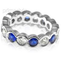 4.10CT Round Cut Diamonds and Sapphires Eternity Band