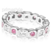 1.65CT Round and Princess Cut Diamonds and Pink Sapphires Eterni