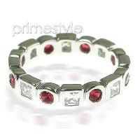 1.65CT Round and Princess Cut Diamonds and Rubies Eternity Band