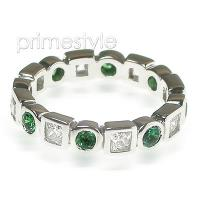 1.65CT Round and Princess Cut Diamonds and Emeralds Eternity Ban
