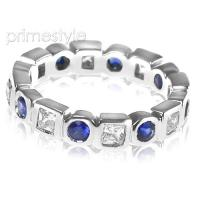 1.65CT Round and Princess Cut Diamonds and Sapphires Eternity Ba