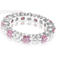 4.10CT Round Cut Diamonds and Pink Sapphires Eternity Band