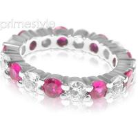 4.10CT Round Cut Diamonds and Rubies Eternity Band