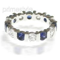 3.20CT Round Cut Diamonds and Sapphires Eternity Band