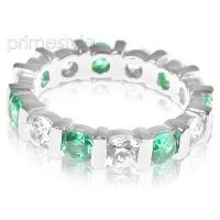 3.20CT Round Cut Diamonds and Emeralds Eternity Band