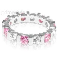 3.20CT Round Cut Diamonds and Pink Sapphires Eternity Band