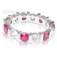 3.20CT Round Cut Diamonds and Rubies Eternity Band