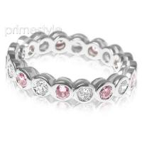 1.55CT Round Cut Diamonds and Pink Sapphires Eternity Band