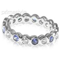 1.55CT Round Cut Diamonds and Sapphires Eternity Band