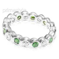 1.55CT Round Cut Diamonds and Emeralds Eternity Band