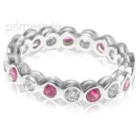 1.55CT Round Cut Diamonds and Rubies Eternity Band