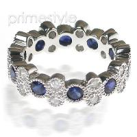 1.90CT Round Cut Diamonds and Sapphires Eternity Band