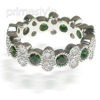 1.90CT Round Cut Diamonds and Emeralds Eternity Band