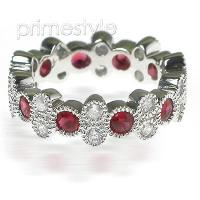 1.90CT Round Cut Diamonds and Rubies Eternity Band