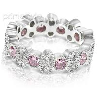 1.90CT Round Cut Diamonds and Pink Sapphires Eternity Band