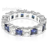 4.70CT Princess Cut Diamonds and Sapphires Eternity Band