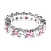 4.70CT Princess Cut Diamonds and Pink Sapphires Eternity Band