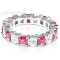 4.70CT Princess Cut Diamonds and Rubies Eternity Band