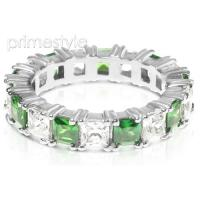 4.70CT Princess Cut Diamonds and Emeralds Eternity Band