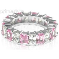 5.30CT Emerald Cut Diamonds and Pink Sapphires Eternity Band