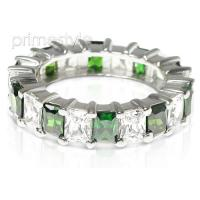 5.30CT Emerald Cut Diamonds and Emeralds Eternity Band