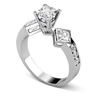 1.55CT Princess and Round Cut Diamonds Engagement Ring