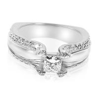 1.45CT Princess and Round Cut Diamonds Engagement Ring