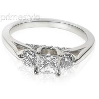 1.00CT Princess and Round Cut Diamonds Engagement Ring