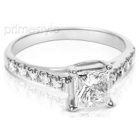 1.05CT Princess and Round Cut Diamonds Engagement Ring