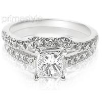 1.35CT Bridal Set with Princess and Round Cut Diamonds