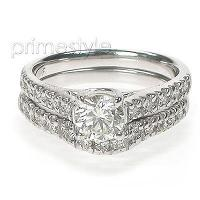 1.35CT princess and round Diamond Bridal Set