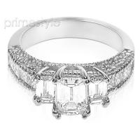 2.60CT Emerald and Princess Cut Diamonds Engagement Ring