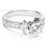 1.20CT Round and Marquise Cut Diamonds Engagement Ring