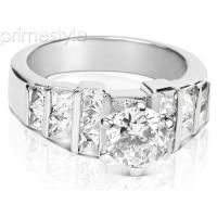 1.65CT Round and Princess Cut Diamonds Engagement Ring