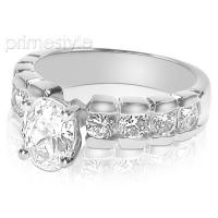 1.55CT Oval and Round Cut Diamonds Engagement Ring