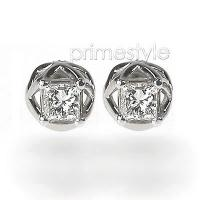 Princess Cut 0.30CT Weight 14KT White Gold Diamond Stud Earrings