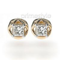 Princess Cut 0.30CT Weight 14KT Yellow Gold Diamond Stud Earrings