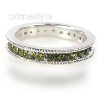 1.50CT Round Cut Green Tourmaline Eternity Band