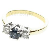 0.90CT Round Cut Sapphire and Diamonds Three Stone Ring