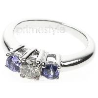 0.90CT Round Cut Diamond and Sapphires Three Stone Ring