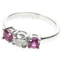 0.90CT Round Cut Diamond and Rubies Three Stone Ring